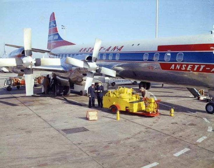 Lockheed Electra, Ansett-ANA, Essendon Airport, Melbourne, circa 1964