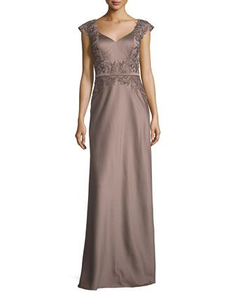 Embellished+Faille+Cap-Sleeve+Gown,+Cocoa+by+La+Femme+at+Neiman+Marcus.