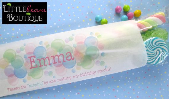 Bubble Candy Bagsbubble Birthday party by LittlebeaneBoutique