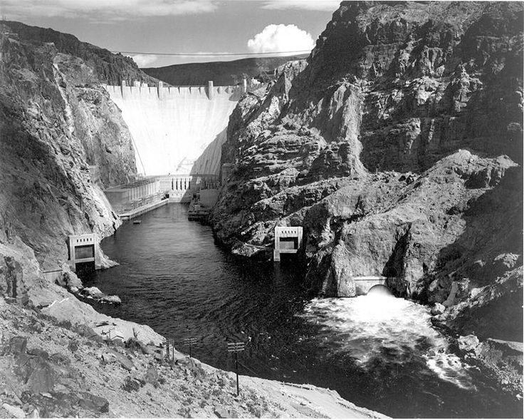 Boulder Dam from Across the Colorado River, Colorado, 1941, Ansel Adams, public domain via Wikimedia Commons.
