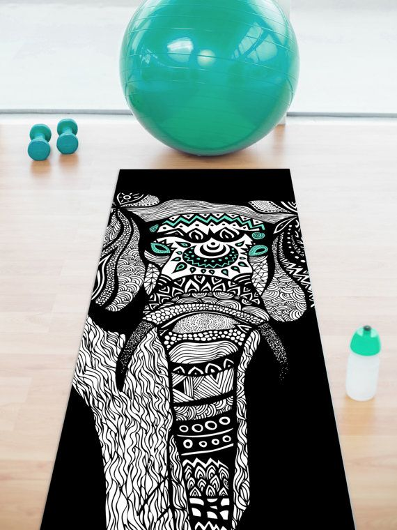One Tribal Elephant Black Yoga Mat by PomGraphicDesign on Etsy