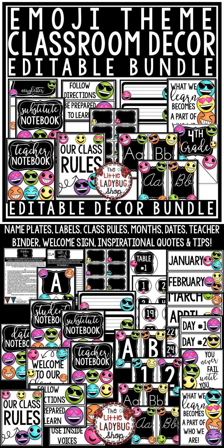 Emoji Classroom Decor EDITABLE [Emoji Classroom Theme Back to School ...