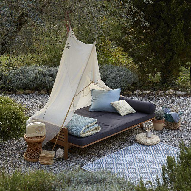 La banquette-lit de jardin en acacia, Ayumi…. Pour un confort au jardin ou dans votre salon! cette banquette s'adapte à vos envies et à vos besoins et se transforme facilement en lit d'appoint !