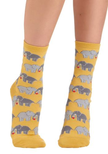I Link I Love You Socks - Yellow, Multi, Print with Animals, Novelty Print, Casual, Knitted, Valentine's