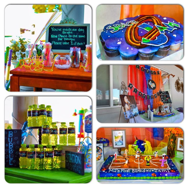 Space jam bubble station and space jam glow in the dark station space jam cake table