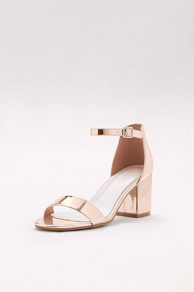 80402206eca Mirror Rose Gold Metallic Block Heel Sandals for Prom