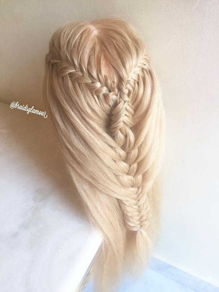 Fishtail waterfall braids into mixed mermaid braid