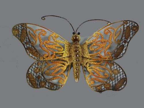 "Butterfly Wall Plaque Brown Shimmer Tropical Wall Art Hanging 15x10 by ET. $19.95. Measures 15 1/2"" wide x 10"" tall x 1 3/4"" deep. Made of painted metal. wall sculpture features a delicate winged butterfly with brown shimmering to light orange then to light yellow color shade. This new tropical wall sculpture features a delicate winged butterfly with brown shimmering to light orange then to light yellow color shade. Measures 15 1/2"" wide x 10"" tall x 1 3/4"" deep. Mounting ha..."