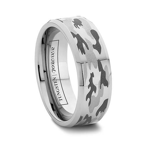 6MM OR 8MM CAMO WEDDING RINGS FOR MEN BEVELED TUNGSTEN - http://www.tungstenworld.com/6mm-or-8mm-Camo-Wedding-Rings-For-Men-Beveled-Tungsten/