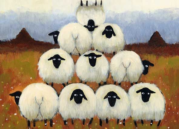 painting of stacked sheep cute, a bit whimsey folk art country style