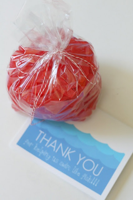 "Swim teacher gift, ""thanks for helping me  swim like a fish!"" (with bag of swedish fish)"