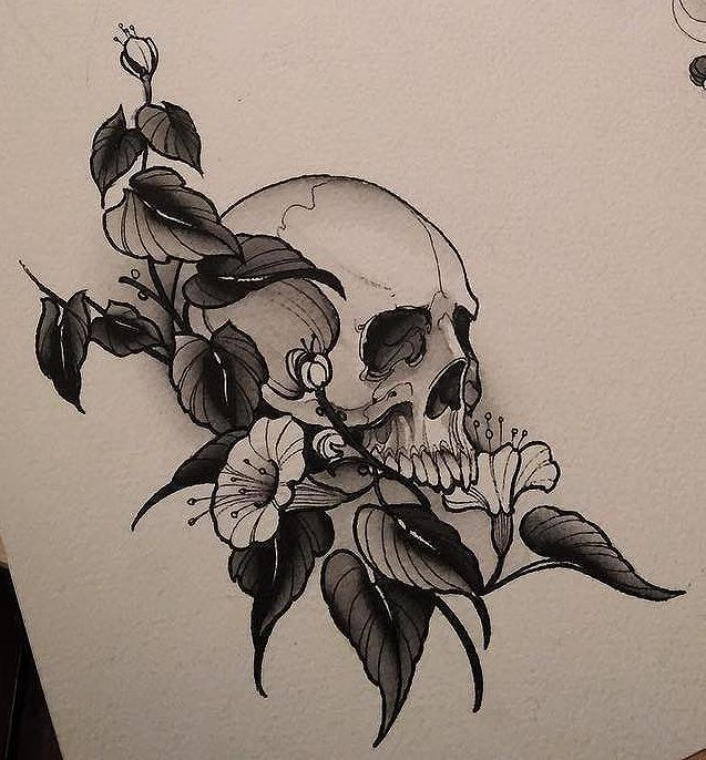 peonies and skull to finish my half sleeve