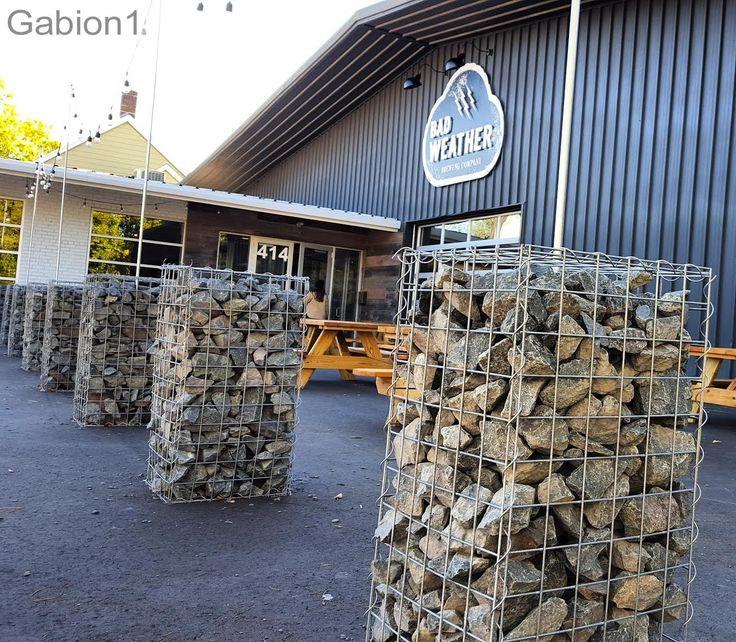 Gabion Pillars Outside Bad Weather Brewing Bar In St Paul