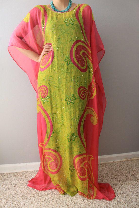 Printed Silk Chiffon long dress/ chiffon dress/ maxi dress / long/kaftan dress/swarovski crystals.