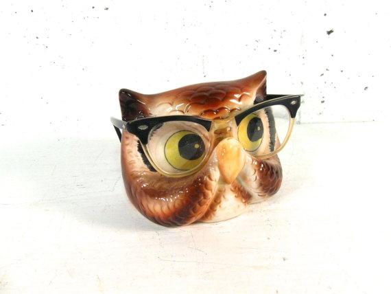 Vintage eyeglass holder ceramic owl for sunglasses or by stephieD, $16.00