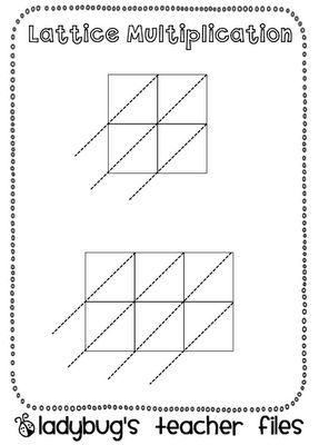 Lattice multiplication grids for solving multi digit multiplication problems: I've used this tutoring a gr.5 student and it makes it very simple for her to understand and follow!