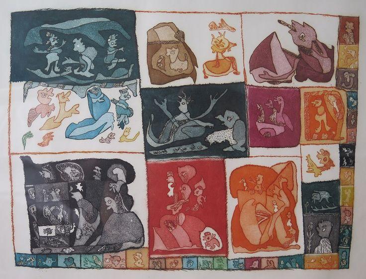 """Bichinhos"", José Igino, gravura em metal colorida."