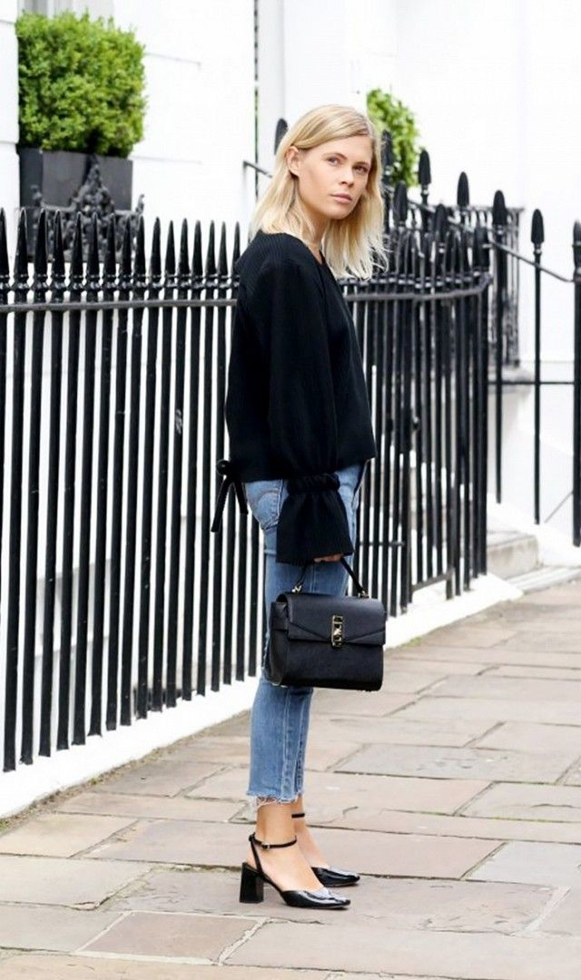 5. A structured bag and polished shoes will elevate any outfit. On Jessie Bush: House of Sunny Open Back Coast Top($59); Levi jeans; Topshop heels; Henri Bendel Uptown Mini...