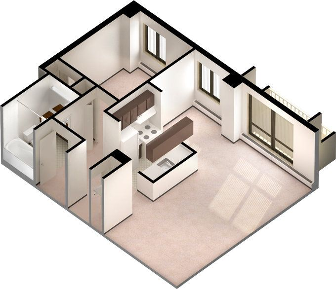 A 3D floorplan of a one-bedroom unit in Newton Place. #ualberta