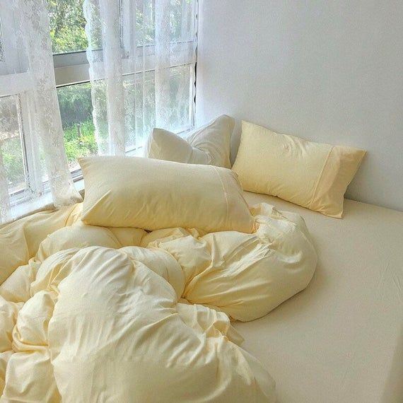 Ever Lasting Pastel Bedding Set Custard Yellow Duvet Cover Queen Bedding Sets Yellow Twin Bedding Set Duvet Yellow Comforter Set Pastel In 2021 Yellow Bedding Sets Pastel Bedding Yellow Duvet