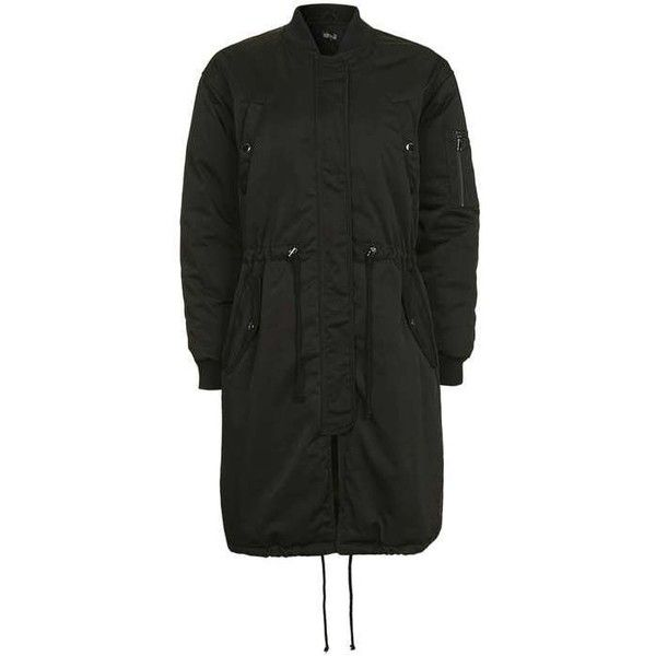 Topshop Longline ma1 Padded Parka (84 AUD) ❤ liked on Polyvore featuring outerwear, coats, topshop, topshop coat, green parka coat, green hooded parka, padded parka and topshop parka