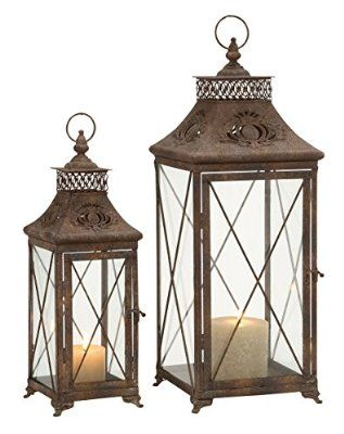 Deco 79 Metal Glass Lantern, 24 by 18-Inch, Set of 2