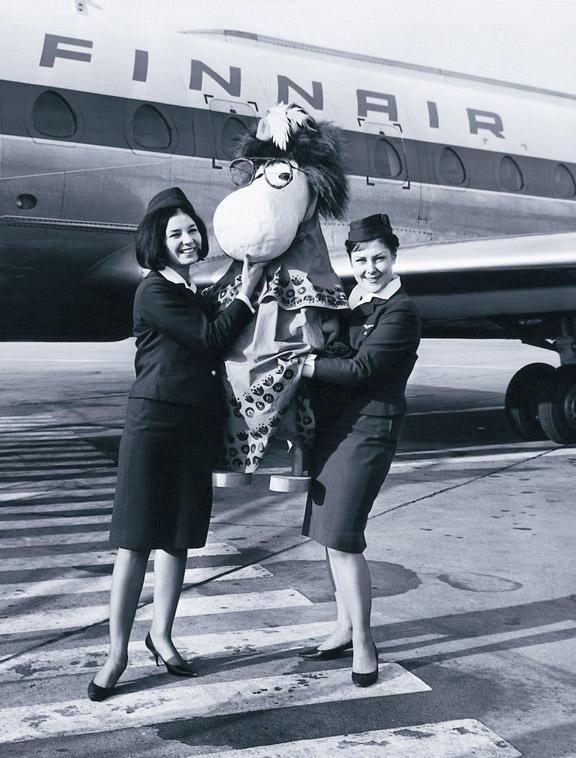 Finnair flight attendants with Moomin, Hemulen at 1963.