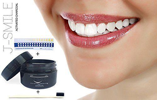 J-SMILE/CHARBON ACTIF/Dents Blanche/Poudre de Charbon Activée de Noix de Coco/Kit Blanchiment Dentaires/100% Naturelle/Facile à…