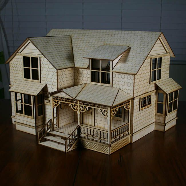 Scale crockett house victorian style dollhouse doll for Victorian style kit homes