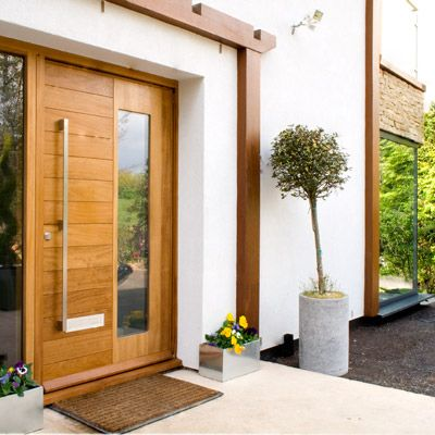 Exterior Urban Front Doors And Garden : Admirable Contemporary Urban Front  Doors With Cool Door Handle And Glass Also Antique White Wall Paint Color  Also ...