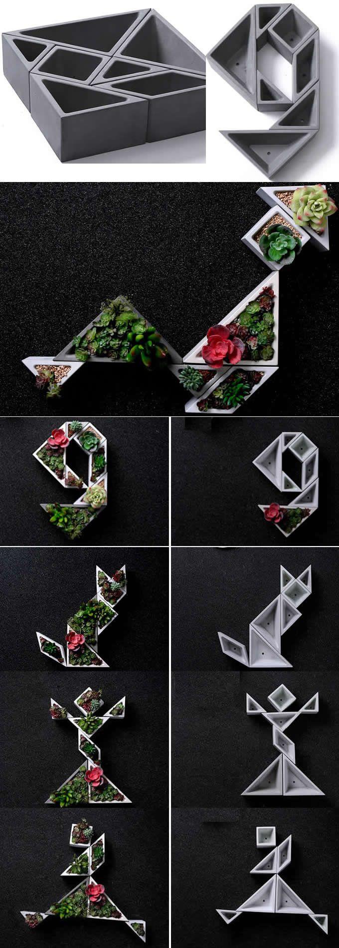 Concrete Modular Geometric Succulent Planter / Plant Pot / Flower Pot