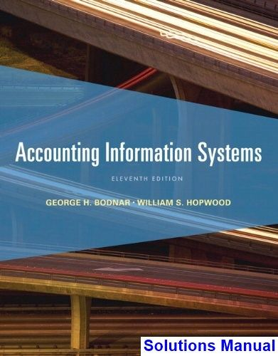 Solutions Manual For Accounting Information Systems 11th