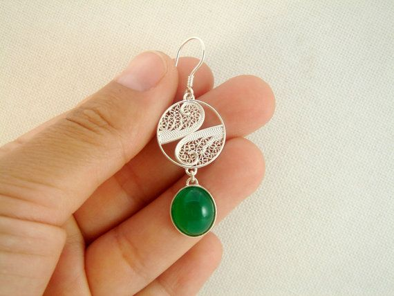 Handmade sterling silver filigree earrings