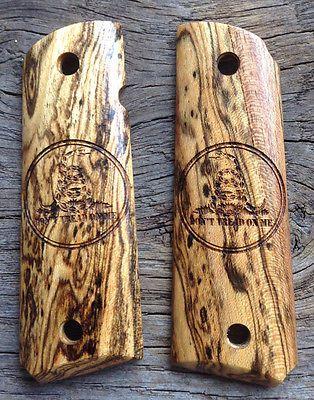 Custom 1911 Grips Hardwood Bocote Don't Tread On Me Logo Full Size