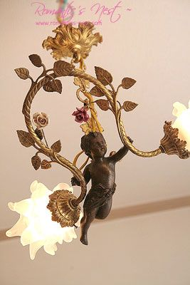 cherub with porcelain roses and satin rose shades