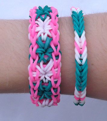 Rainbow Loom made Starburst with Matching Fishtail Bracelets green pink white