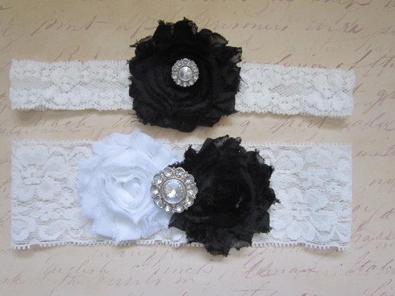 Black White Wedding Garter Set
