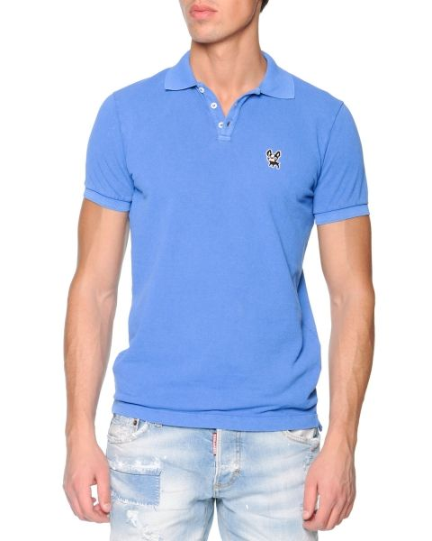 Dsquared2 Bulldog Short-Sleeve Polo T-Shirt - Mavi