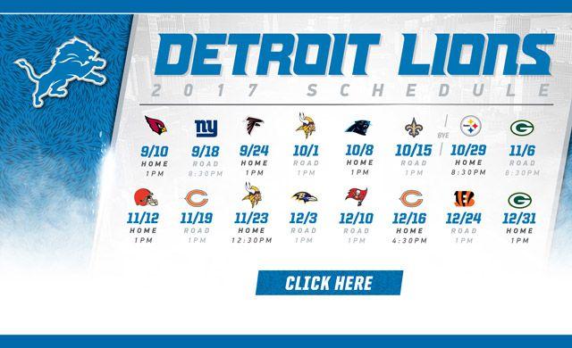 Detroit Lions | Schedule & Events https://www.fanprint.com/licenses/detroit-lions?ref=5750 https://www.fanprint.com/licenses/detroit-lions?ref=5750