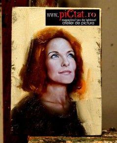 Tablouri pictate: Picturi in ulei pe panza dupa fotografie Portret de femeie roscat