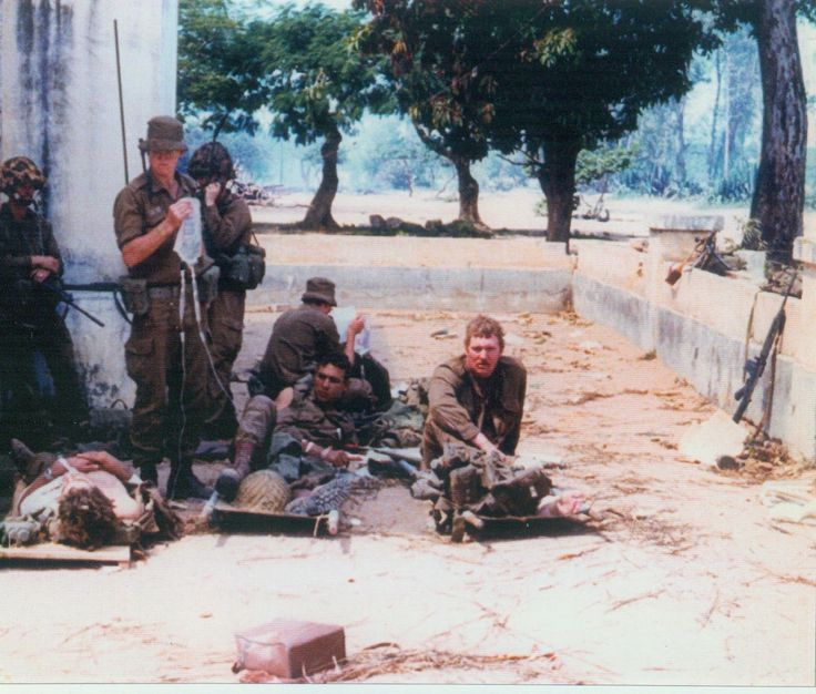 Wounded South African Para's in a makeshift medical post. Battle of Cassinga - Angola