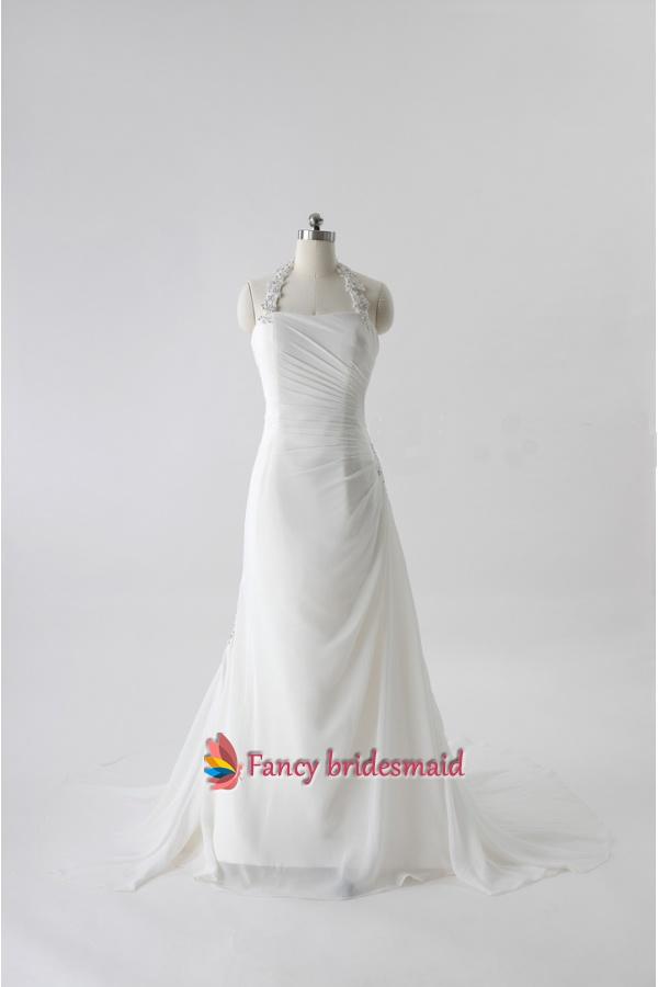 Ivory Halter Neck Wedding Dresses, Ivory Chiffon Wedding Dresses