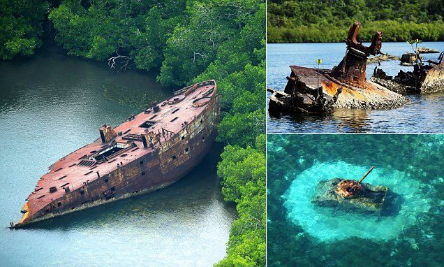 Aerial images have revealed remnants and wrecks from the Pacific conflict in the Second World War, scattered across the Solomon Islands and Northern Mariana Islands.