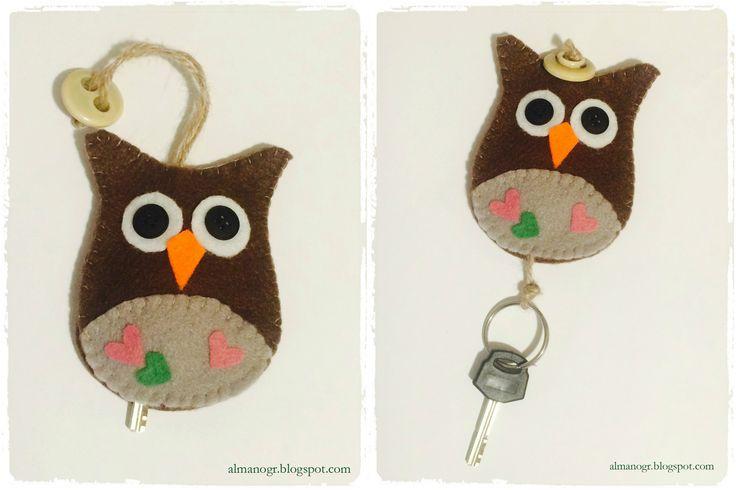 Owl felt key holder     #feltkeyholder #handmadekeyholder #owlkeyholder #handmadefeltowl #almanogr