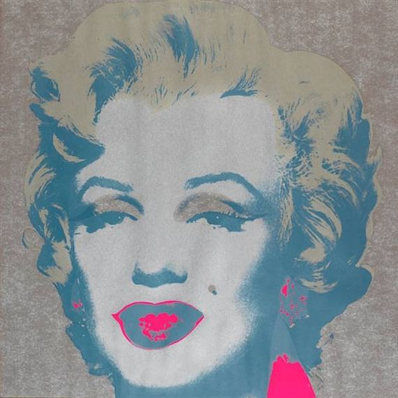 Artwork by Andy Warhol, Marilyn Monroe, Made of published by Factory Additions, printed by Aetna Silkscreen Products, Inc., New York, printed the full sheet, in good condition aside from 1in crease at chin, 3/4in crease above lip, 1/2in crease in hair at upper right, 1/2in crease in pink near neck, 1/2 and 1/4in creases at lower right sheet edge, a few nicks at sheet edges, soft scuffs in pink (visible at a raking light), uneven backboard staining, sheet lightly buckled