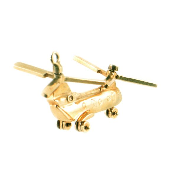 "Vintage 14K Gold Helicopter Charm • Chinook Helicopter • Boeing CH-47 Chinook Charm in 14K Gold • Spinning Propellors & Wheels • 1 5/8"" Long by EncoreJewelryandGems on Etsy"