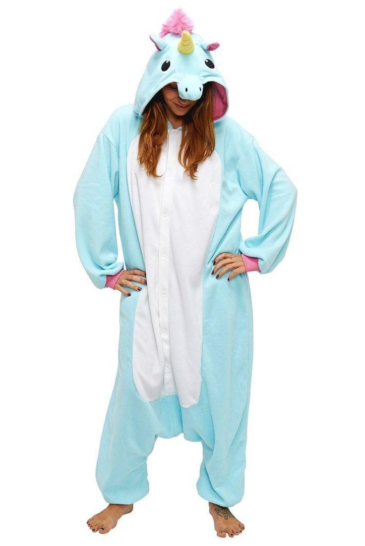 Adulte Unisexe Animal Costume Cosplay Combinaison Pyjama Outfit Nuit Fleece Halloween New Unicorn (S(148-160CM), Blue): Amazon.fr: Jeux et Jouets
