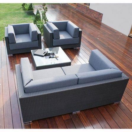 Maze Rattan Monaco Grey Sofa Set with Ice Bucket Table