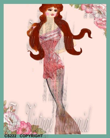 Vintage Bombshell Mermaid Fabric Block Print by mermaidfabricshop, $6.99 www.mermaidfabricshop.com