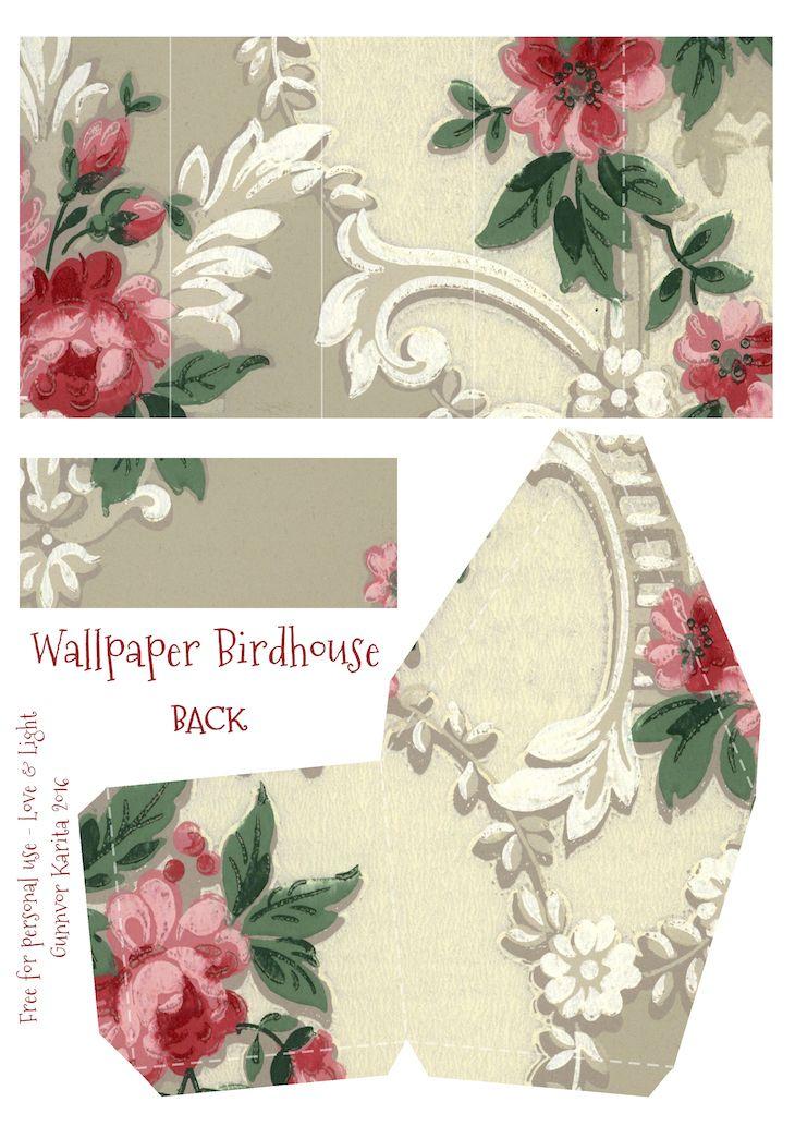 Wings of Whimsy: Wallpaper Birdhouse No 2 Back #vintage #ephemera #freebie #printable #wallpaper #bird #house